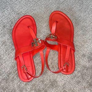 Tory Burch sandal 9 heel strap orange red Bryce
